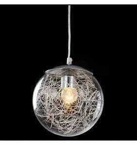 Suspension Luminaire En Verre Transparent : suspension design sph re en verre transparent avec motif elba ~ Teatrodelosmanantiales.com Idées de Décoration