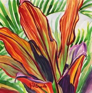 Orange Hawaiian Ti Leaves - Floravita Reverse Painted ...