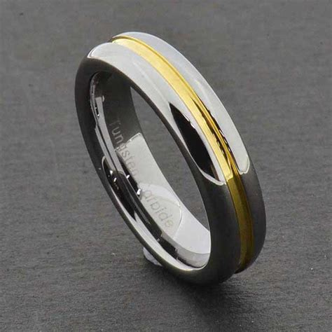 5mm tungsten carbide grooved gold center shiny edge womens wedding ring ebay