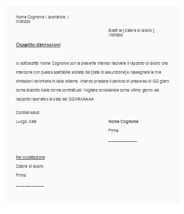Lettere Dimissioni Volontarie lettera di dimissioni okpedia