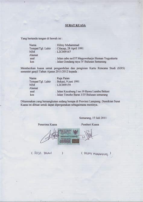 format surat kuasa pengambilan npwp contoh surat kuasa