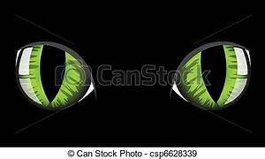 EPS vectores de ojos, Gato - verde, gato, ojos, en, negro ...