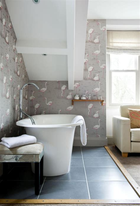flamingo background wallpaper   bathroom interior