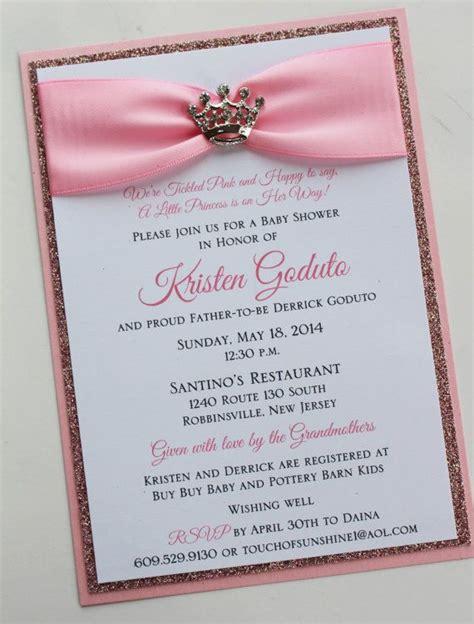 pink princess baby shower invitation  sparkling tiara