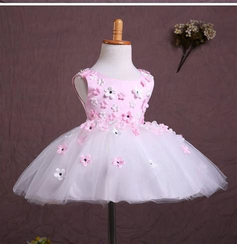 baby wow pink sleeveless flower wedding party dresses baby