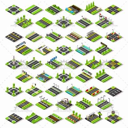 Isometric Map Tiles Tile Road Street Vector