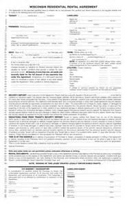 Wisconsin Rental Lease Agreement Free