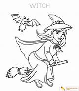 Coloring Halloween Witch Witches Playinglearning Scary Printable Witchcraft sketch template
