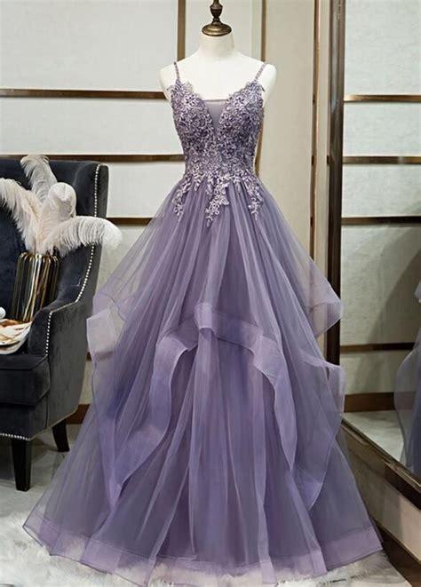 Elegant Tulle V-neckline Purple New Prom Dress 2020, A ...