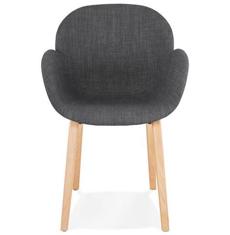 Chaise avec accoudoirs SAMY en tissu gris - Chaise scandinave