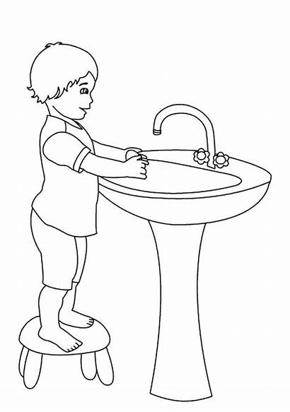 Coloring Potty Washing Pages Hand Drawing Training