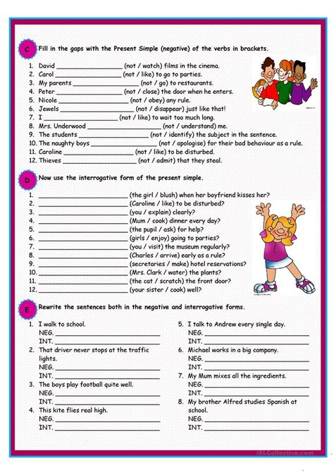 present simple worksheet  esl printable worksheets