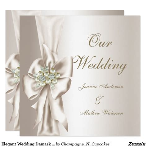 Elegant Wedding Damask Pearl Cream White Bow Invitation ...