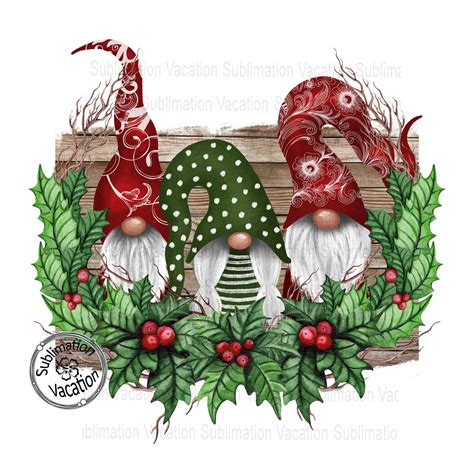 Christmas gnomes watercolor clipart, funny gnomes in blue hats, lantern, christmas tree, gift, png. Gnomes in Holly Wreath Christmas Sublimation Design ...