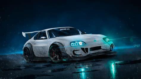 wallpaper toyota supra custom drift neon lights hd  automotive cars