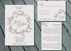 rustic floral wreath wedding invitation suite with rsvp With digital wedding invitations with rsvp