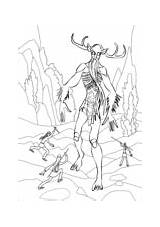 Coloring Wendigo Monsters Pages Mythology sketch template