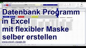 2 Datenbank Programm In Excel Mit Flexibler Maske Selber