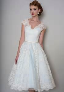 pale blue wedding dress vintage a line tea length pale blue bridal gown with cap sleeves lace overlay idress