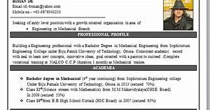 Latest Cv Format 2013 Free Download Mechanical Engineering Resume Format
