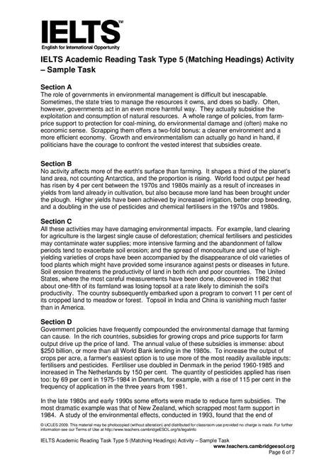ielts academic reading task type  matching headings