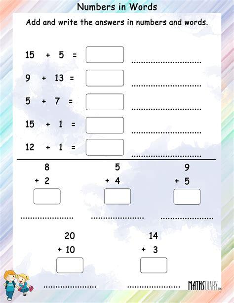 number names    worksheet  worksheet