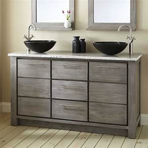 """60"""" Venica Teak Double Vessel Sink Vanity - Gray Wash"""