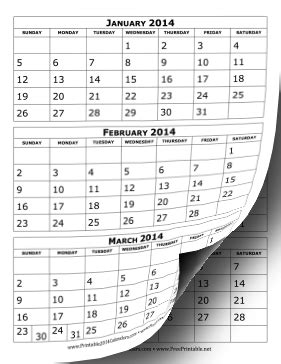 3 Month Calendar Template 2014 printable 2014 calendar three months per page