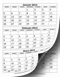 Printable 2014 calendar three months per page for 3 month calendar template 2014