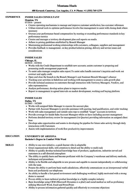 Inside Sales Resume by Inside Sales Resume Sles Velvet