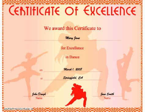 certificate  excellence  dancing illustrated