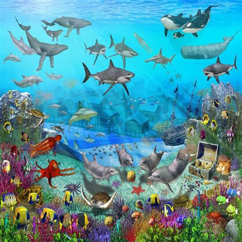 the sea wall murals colorful childrens wallpaper