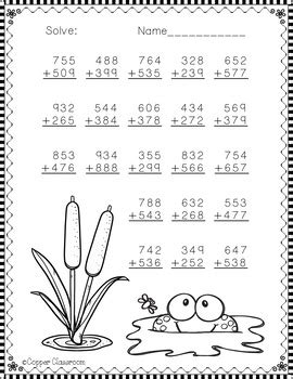 nbt spring themed  digit addition  regrouping