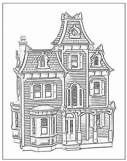Coloring Pages Dollhouse Victorian Houses Doll Hill