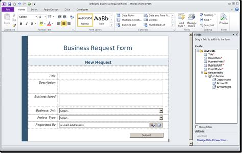 walkthrough create an infopath form template to submit