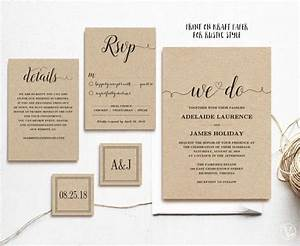 Rustic wedding invitation template 5 piece printable for 5 piece wedding invitations