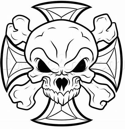 Skull Cross Drawing Iron Draw Stencil Drawings