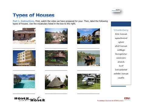 types of homes types of homes worksheet