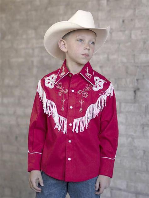 rockmount ranch wear childrens vintage western shirt fringe red
