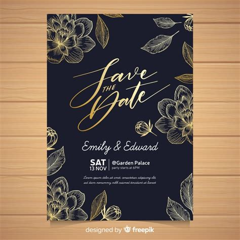 Free Vector Elegant wedding invitation card template