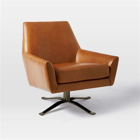 swivel leather chairs lucas leather swivel base chair west elm 2639