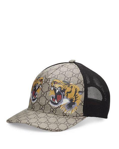 supreme hat gucci tigers print gg supreme baseball hat brown