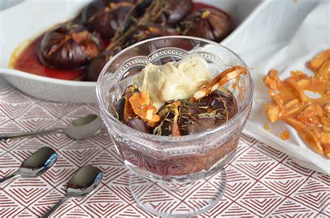 dessert figues fraiches miel figues r 244 ties au miel cr 232 me glac 233 e aux amandes caram 233 lis 233 es par turbigo gourmandises