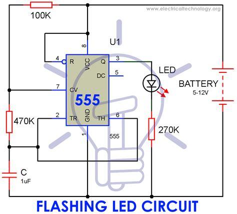 How Make Simple Led Flashing Circuit Using Timer