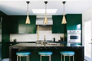emerald green and black kitchen design contemporary With best brand of paint for kitchen cabinets with hollywood sign wall art