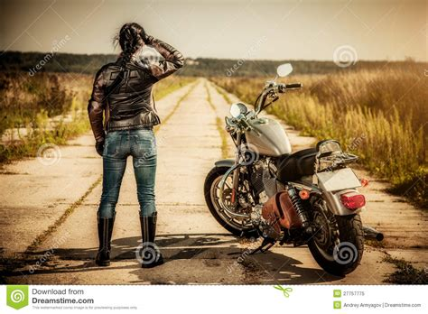 Biker Girl Stock Image. Image Of Journey, Light, Brown