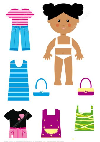 african american girl paper doll  casual clothes set