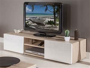 Meuble Tv Blanc Laqué Et Bois : meuble tv bois et blanc laqu choix d 39 lectrom nager ~ Teatrodelosmanantiales.com Idées de Décoration