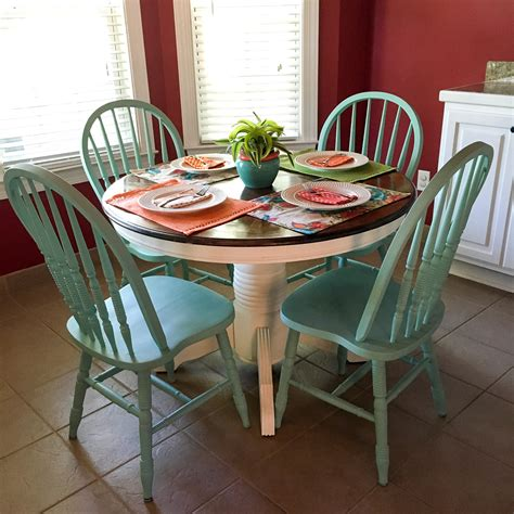 Turquoise And White Kitchen Table  Round Table  The