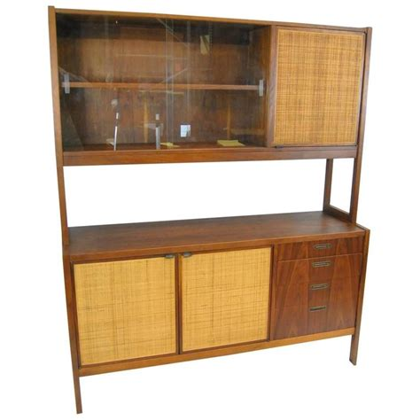 mid century modern china cabinet mid century danish modern rosewood china cabinet with cane